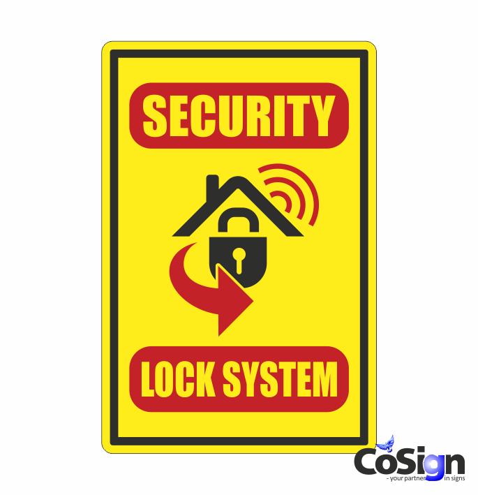 AL 50 alarm klistermærke security gul