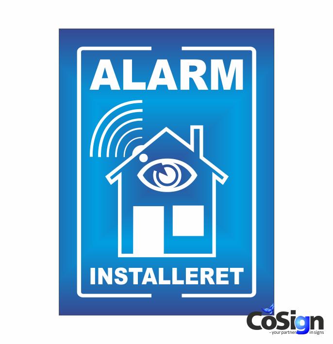 AL1-Reflex BLÅ Alarm installeret skilt
