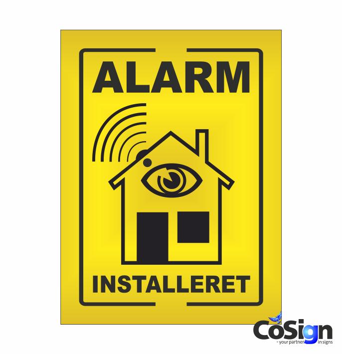 AL1-Reflex GUL Alarm installeret skilt