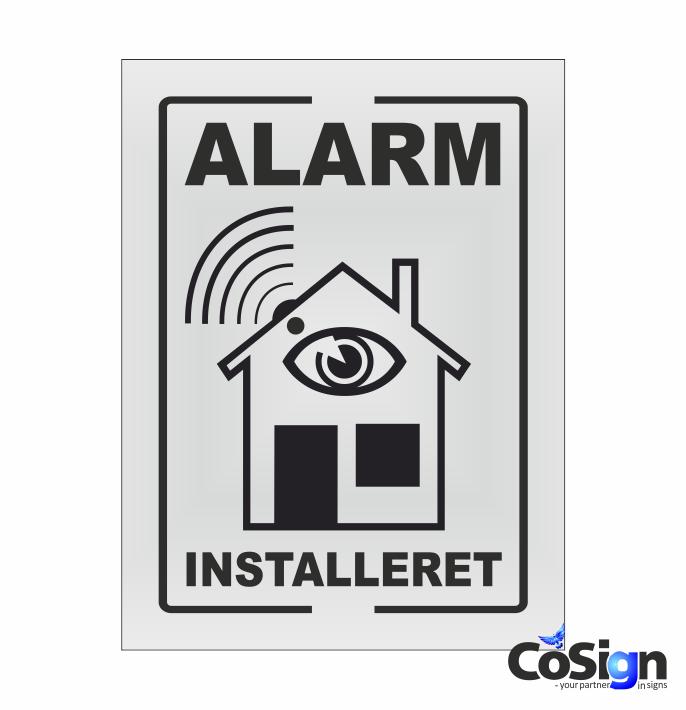 AL1-Reflex HVID Alarm installeret skilt