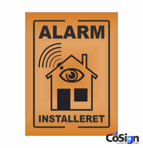 AL1-Reflex ORANGE Alarm installeret skilt