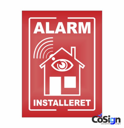 AL1-Reflex RØD Alarm installeret skilt