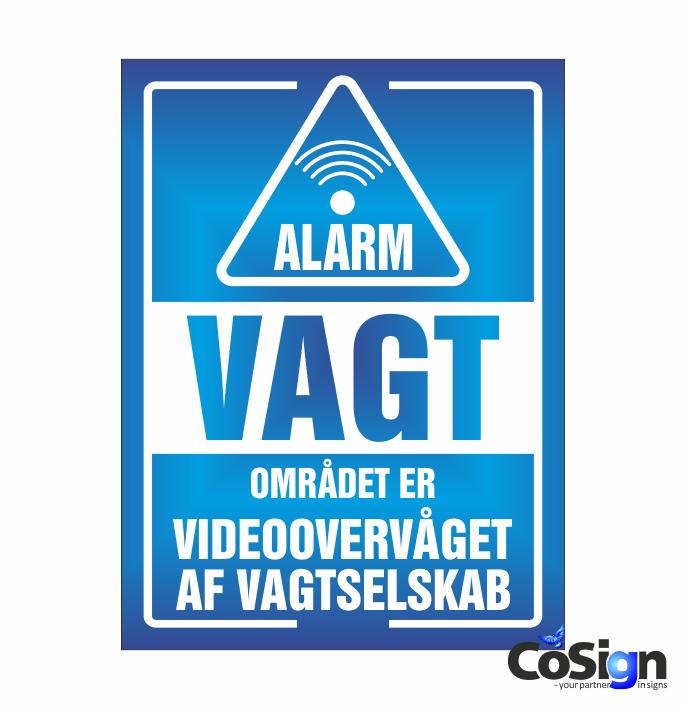 AL20-Reflex BLÅ Alarm Vagt skilt