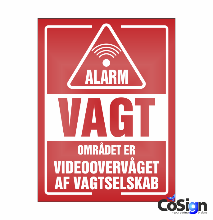 AL20-Reflex RØD Alarm Vagt skilt