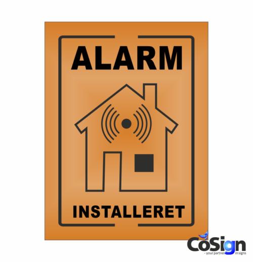 AL5-Reflex ORANGE Alarm installeret skilt