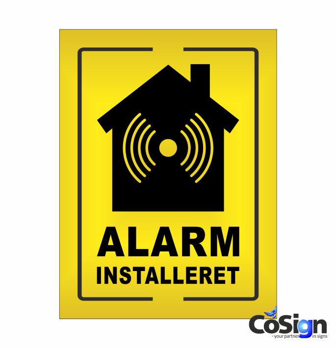 AL6-Reflex GUL Alarm installeret skilt