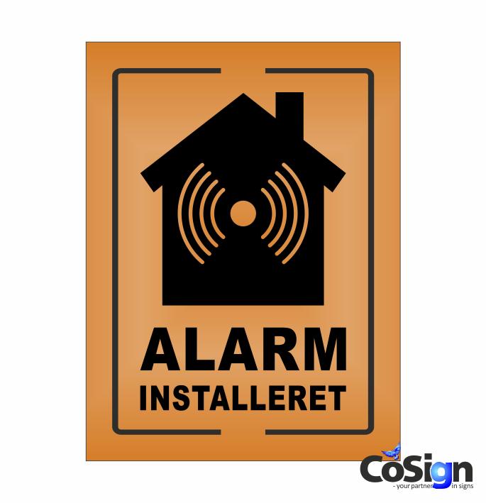 AL6-Reflex ORANGE Alarm installeret skilt