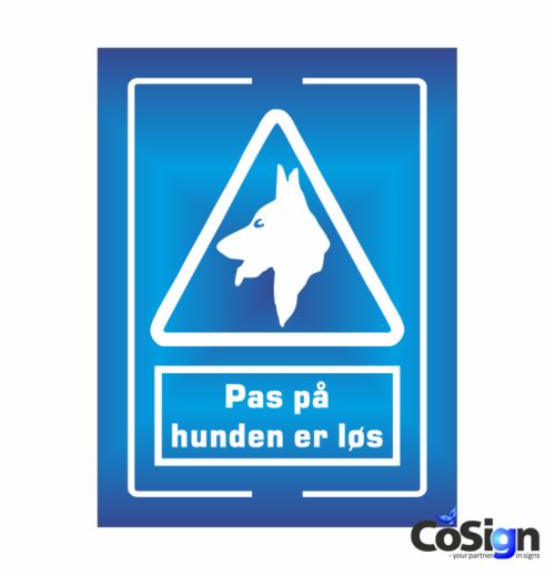 PP21-Reflex BLÅ Pas på hunden skilt