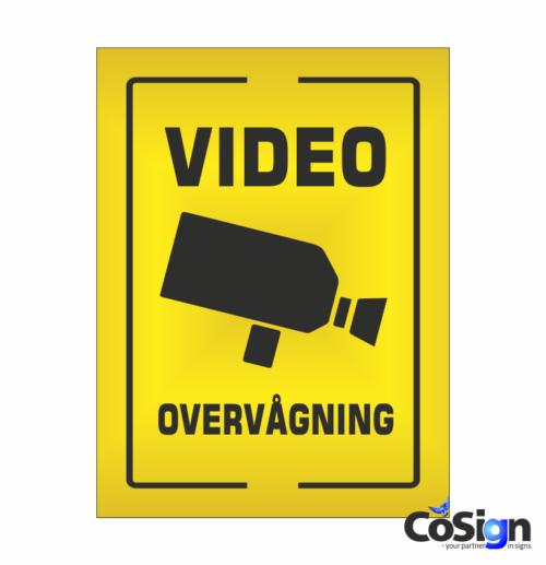 VI4-Reflex GUL Videoovervågning skilt