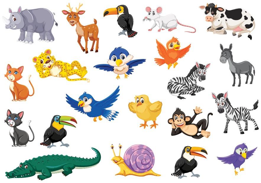 Klistermærker med forskellige dyr