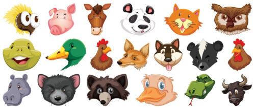 Klistermærker med forskellige dyrehoveder