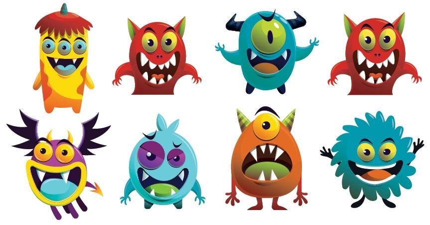 Venlige og søde monsters i flere forskellige farver
